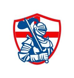English Knight Hold Sword England Shield Flag vector image vector image