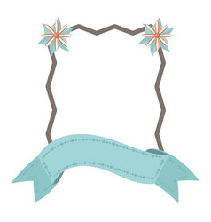 label ribbon floral decoration template vector image