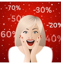 Surprised woman portrait with discount signs vector image vector image
