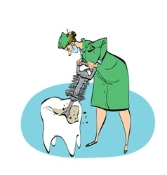 The dentist drills a tooth humorous vector