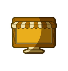 yellow aged silhouette of desktop computer online vector image