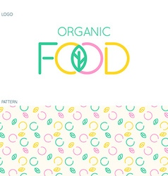 Food logo and pattern vector image vector image