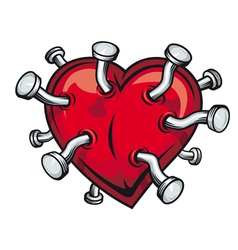 nails pierced heart vector image vector image