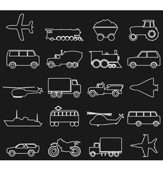 Transport outline icons vector image vector image