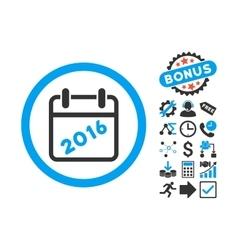 2016 Calendar Flat Icon with Bonus vector image