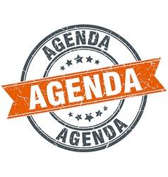 Agenda round orange grungy vintage isolated stamp vector