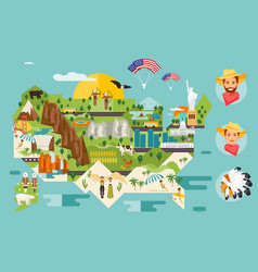 america map of attractions vector image
