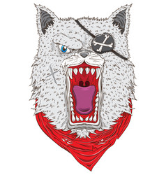 Angry wolf with bandana vector