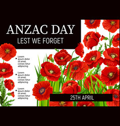Anzac day holiday red poppies vector