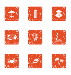 Asian village icons set grunge style vector