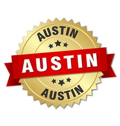 Austin round golden badge with red ribbon vector