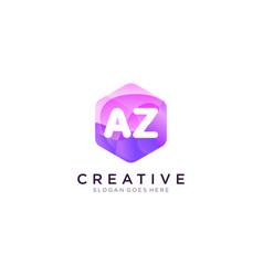 Az initial logo with colorful hexagon modern vector