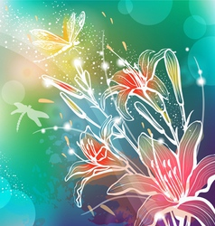 Background with flowers lily vector