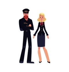 Bearded airline pilot and blond stewardess in vector image