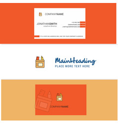 beautiful pencil box logo and business card vector image