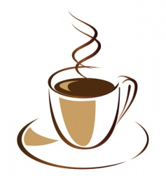 black coffee in white cup vector image