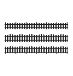 Black picket fence symbols and signs isolated vector