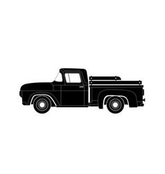 Black silhouette old farmer retro pickup truck vector