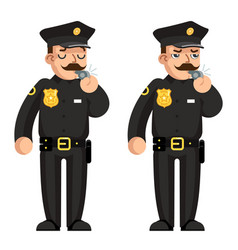 blow whistle policeman warning flat design vector image