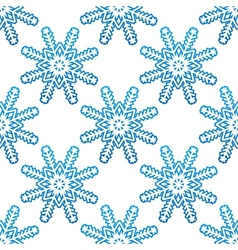 Blue snowflakes seamless pattern background vector image