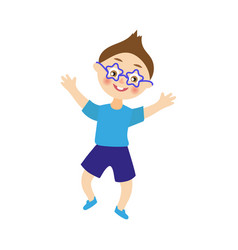 Boy dancing at party in funny glasses vector