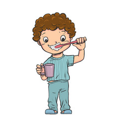 Boy stood brushing their teeth vector