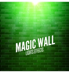 Brick wall with lights Colorful light shining on a vector image