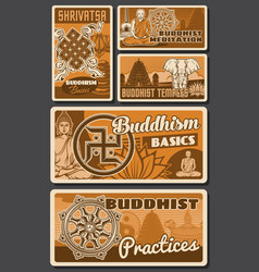 Buddhism posters religion zen buddha temples vector