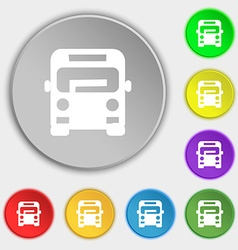 Bus icon sign Symbol on eight flat buttons vector