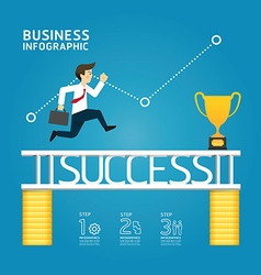 Business run to success concept infographics vector