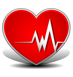 Cardiology heart with heart rate heart attack vector