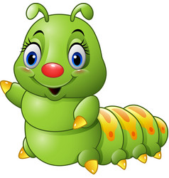 Cartoon green caterpillar vector