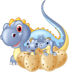 Cartoon happy mother and baby dinosaur hatching vector