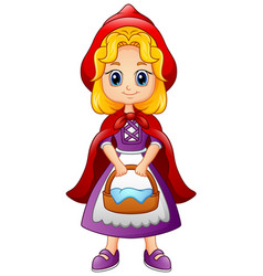 cartoon little red riding hood vector image