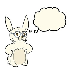 Cartoon rabbit wearing spectacles with thought vector