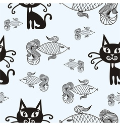 Cats and fishes vector