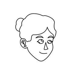 Character face woman bun hair outline vector