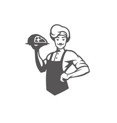 Chef man holding meat dish silhouette vector