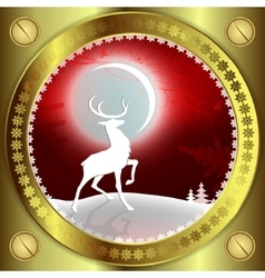 Christmas red background with reindeer and bright vector