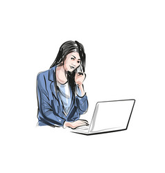 color line sketch of working woman vector image vector image