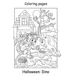 Coloring halloween funny boys in dinosaur costume vector
