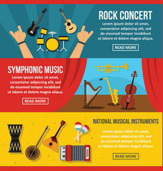 concert poster banner horizonatal set flat style vector image