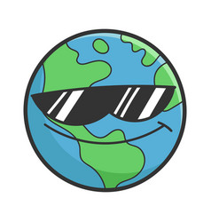 Cool sunglasses planet earth cartoon vector