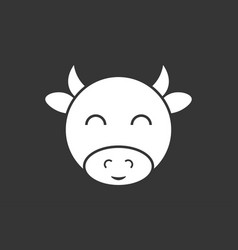 Cow simple icon flat style element for graphic vector