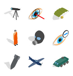 Craft production icons set isometric style vector