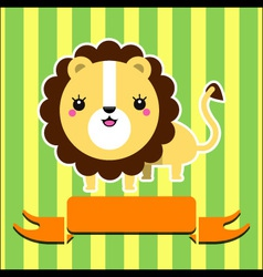 Cute lion with banner vector image