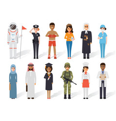 diverse occupation profession people vector image
