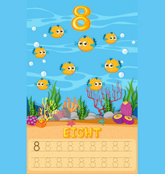 Eight pufferfish in math worksheet vector