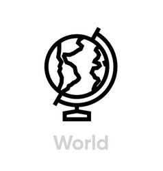 Europe globe on a stand icon editable line vector