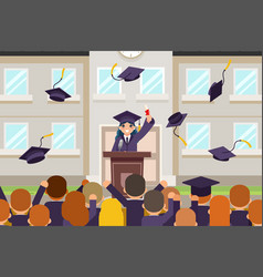 Female graduate tribune speech crowd students vector